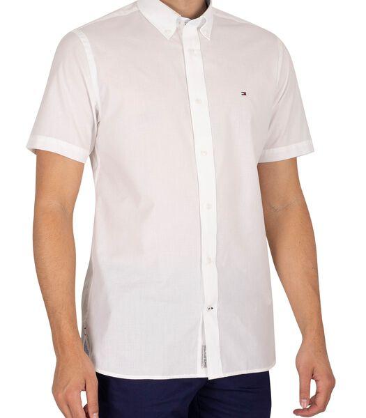 Natuurlijk zacht popeline overhemd met korte mouwen