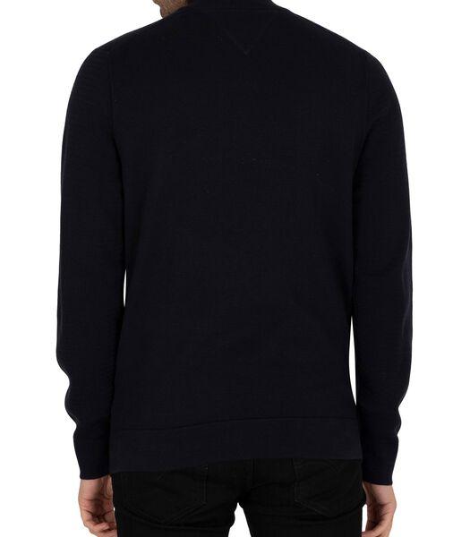Fijne Zig Zag-structuur Zip Mock Sweatshirt