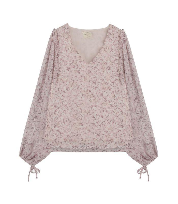 Lange mouw V-hals bloes met bloemenprint YOLANDA image number 4