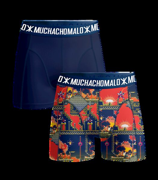 Men 2-pack shorts Super 16bit Print/Blue L