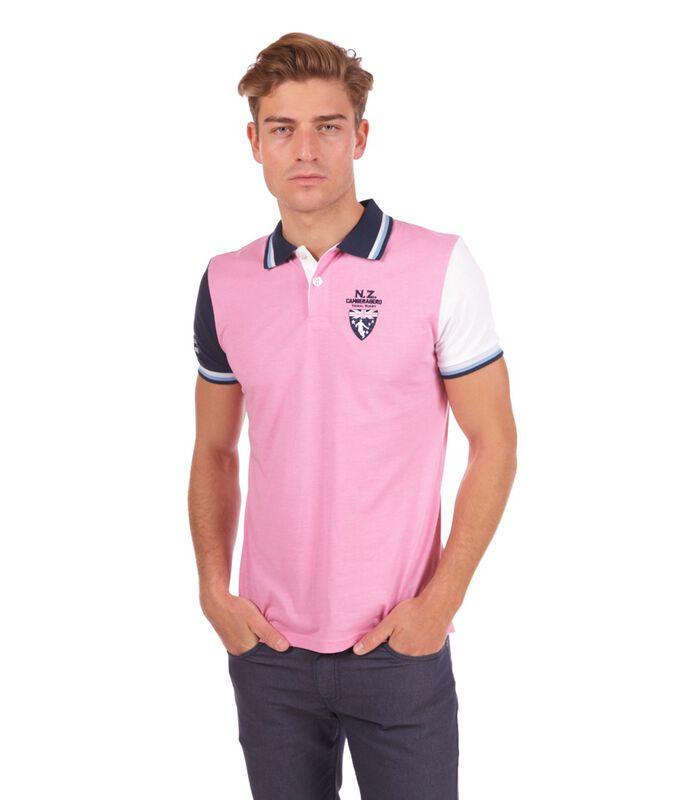 Polo in jersey tweekleurig roze image number 0