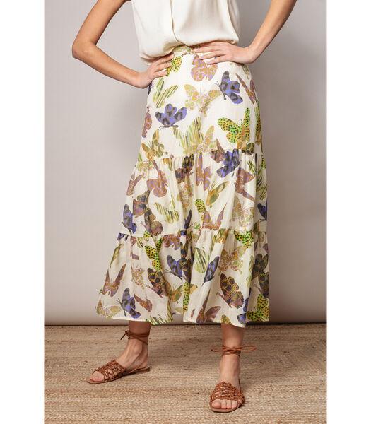 Elegante rok met kleurrijk vlindermotief