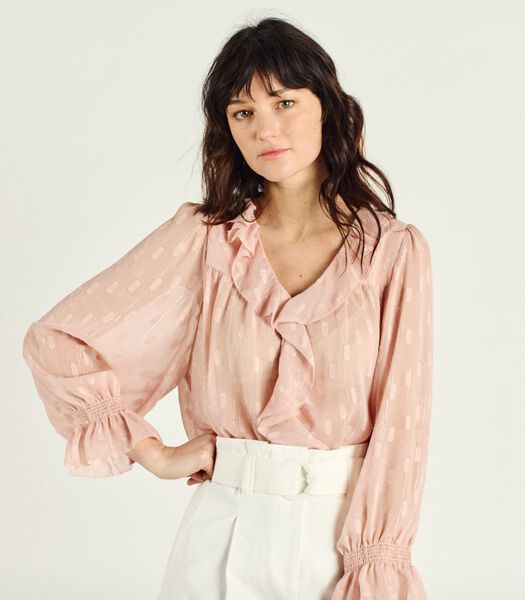 Transparante blouse met V-hals VANDA