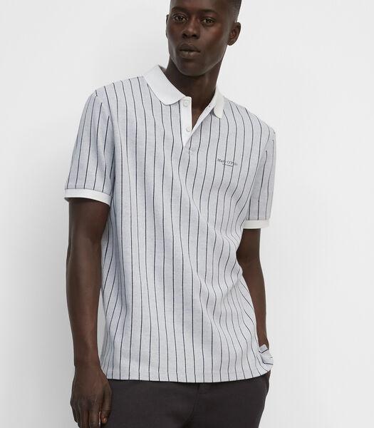 Poloshirt met korte mouwen van gestreepte jacquard