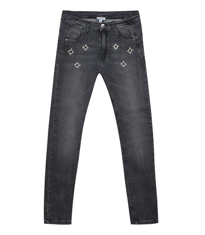 Slim jeans met glitter bloemen image number 0