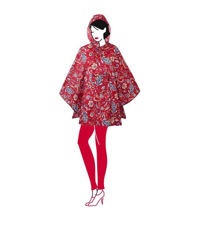 Mini Maxi Poncho - Regenponcho - Paisley Ruby Rood image number 2