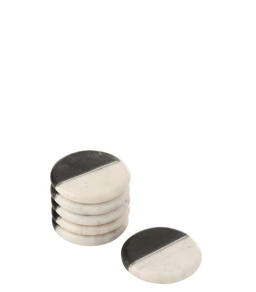 Set Van 6 Onderzetter Marmer Zwart/Wit/Zilver