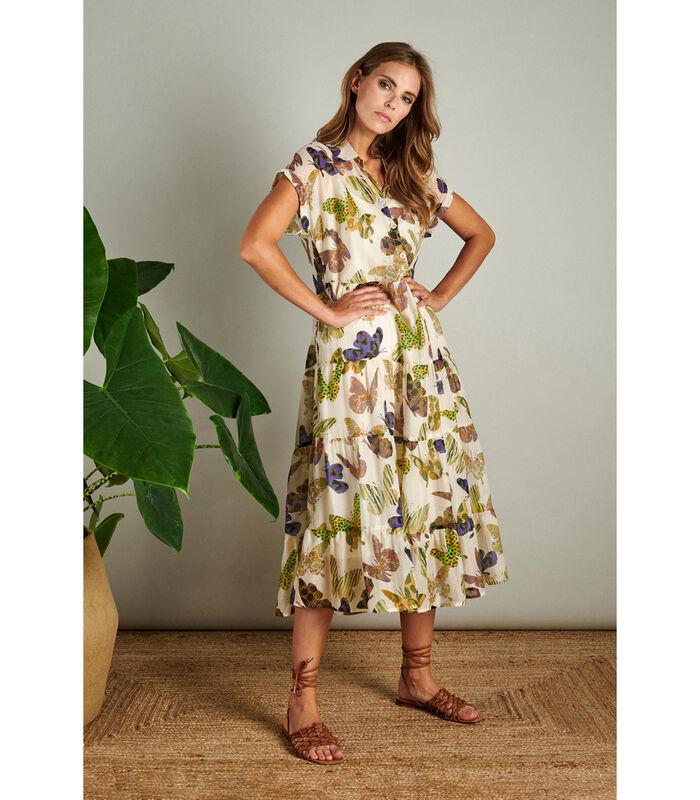 Maxi jurk in een hip dessin met vlindertjes image number 0