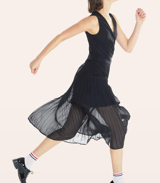 Zwarte lange jurk CONCILIANT in geplooide voile