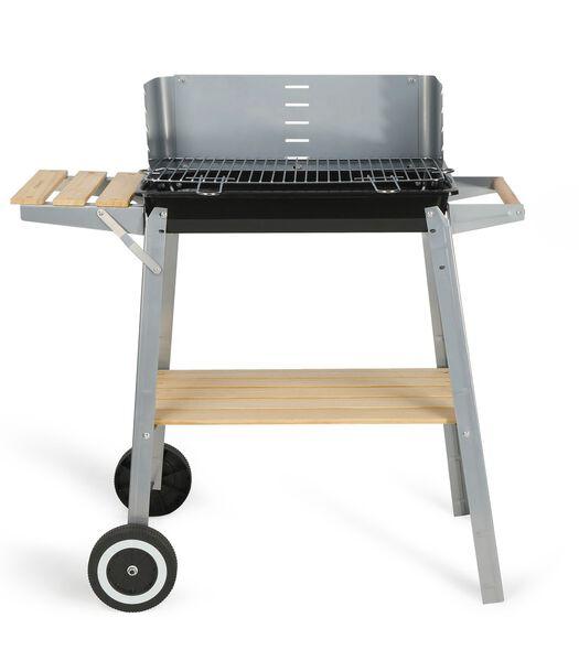 Houtskoolbarbecue afwerking hout