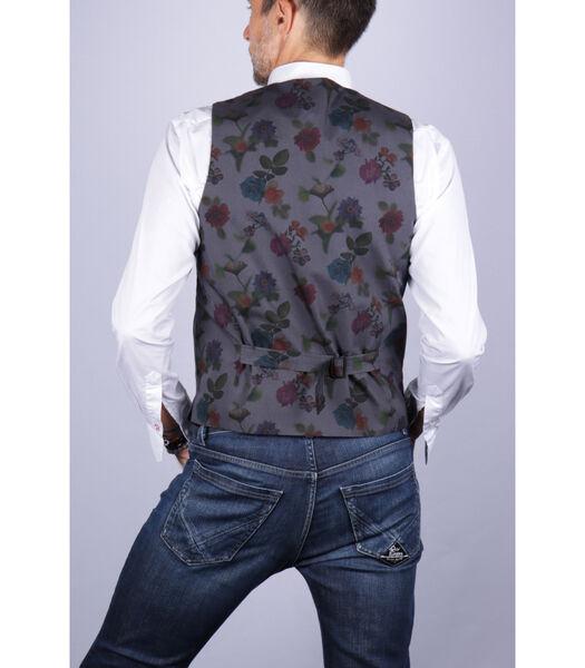 Gilet en flanelle avec dos contrasté à fleurs