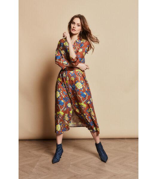 Lange jurk met kleurrijk bloemendessin