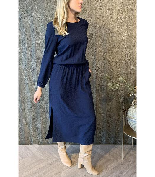 Soepelvallende lange jurk in donkerblauw