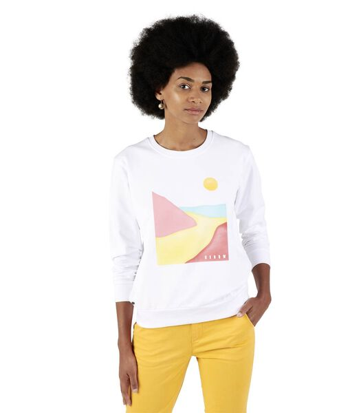 Sweater ronde hals met print SASKIA
