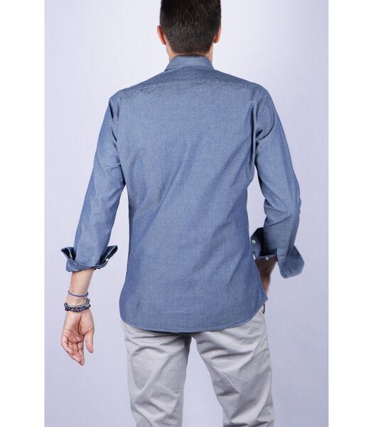 Overhemd katoen franse kraag effen patroon