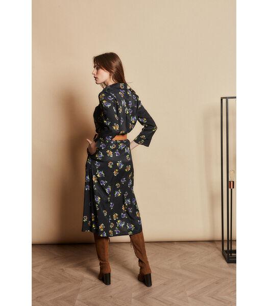 Donkerblauwe jurk met kleurrijk bloemendessin
