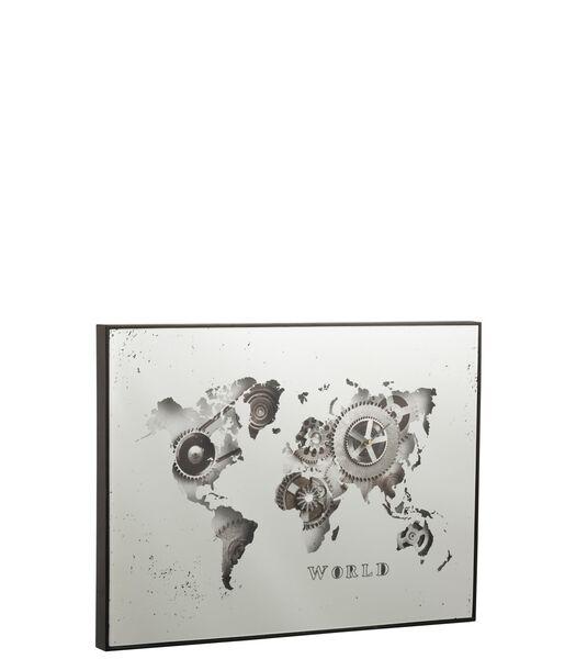 Horloge Mappemonde Miroir Argent