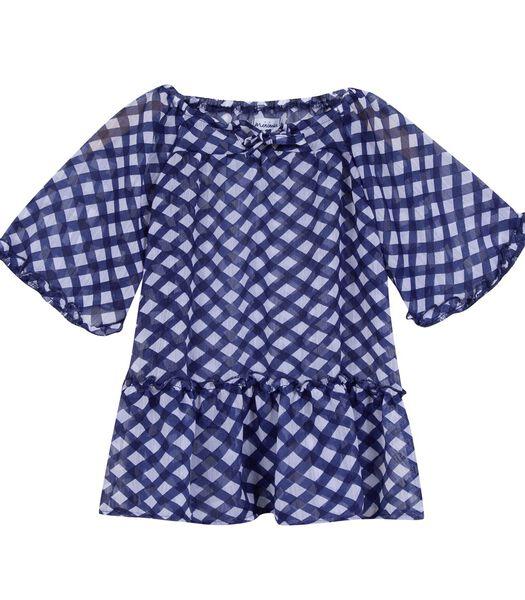 Geruite blouse met korte mouwen