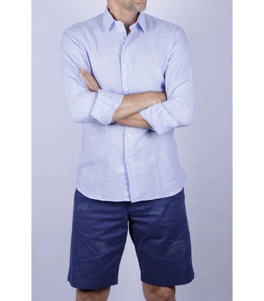 Overhemd linnen franse kraag effen patroon