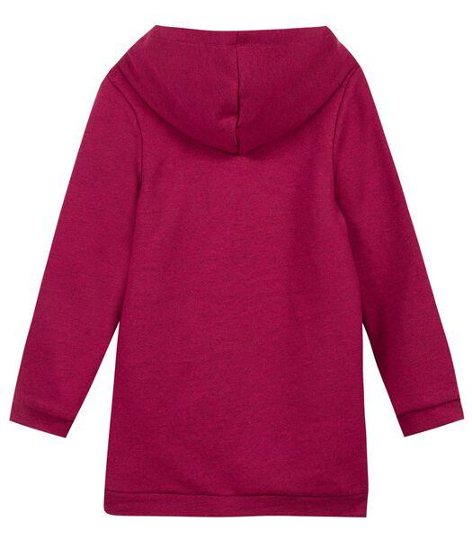 Fleece sweatshirt jurk met capuchon