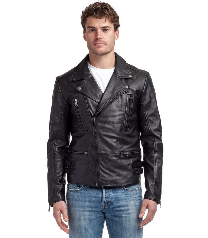 Anton jas in schapenleer biker stijl image number 1