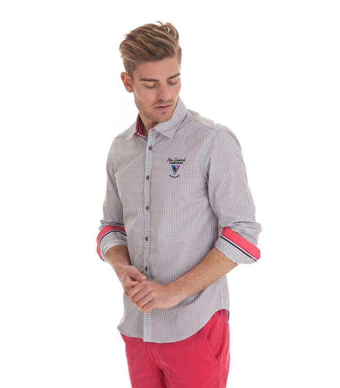 Overhemd in popeline met lange mouwen en motief image number 1