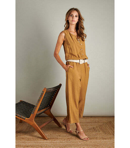 Toffe jumpsuit in zacht camel