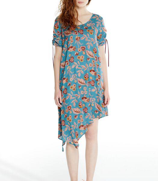 Asymmetrische jurk ROSAFA met bloemenprint