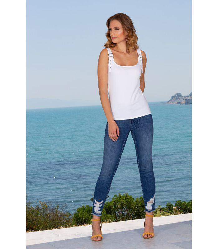 Jeans slim denim brut troué et franges CRUSH image number 2