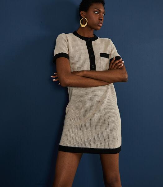 Tweekleurige jurk korte mouwen