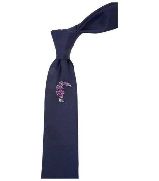 Cravate broderie perroquet