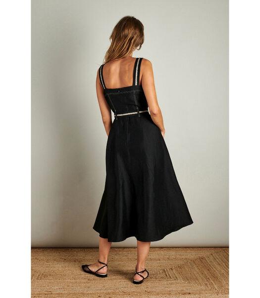 Zwarte lange jurk met ecru stiksels