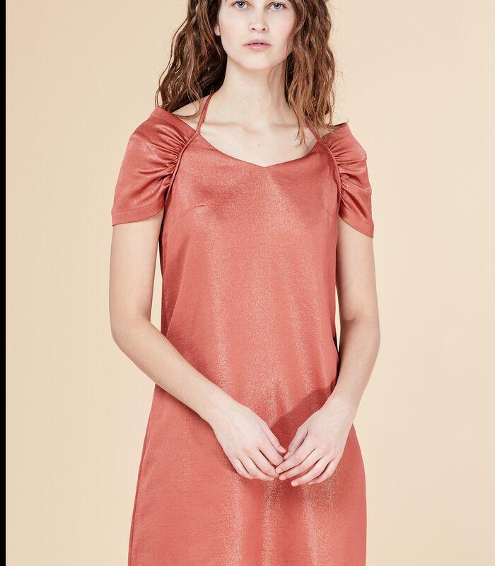 Korte iriserende jurk DEROMY bloedappelsien image number 1