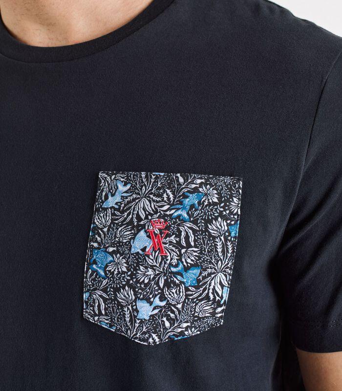 T-shirt met zak bedrukte THUNDER image number 1