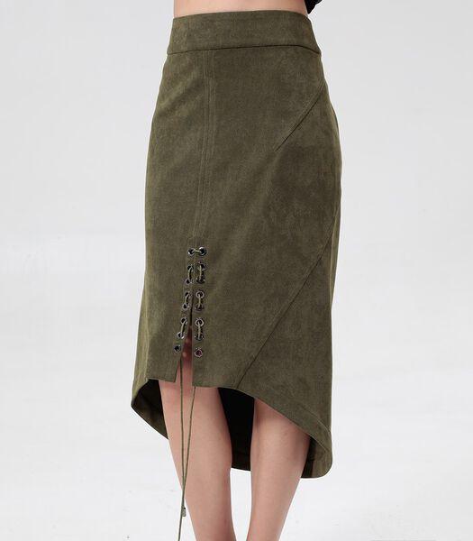 Plooiende rok met split en vetersluiting middenvoor