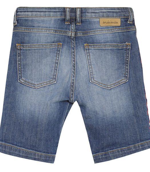 Bermuda jeans avec bande rayée