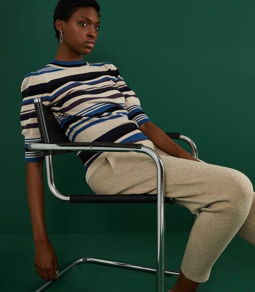 Veelkleurige gestreepte trui