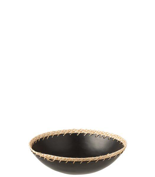 Plat Rond Decoratif Metal/Rotin Noir