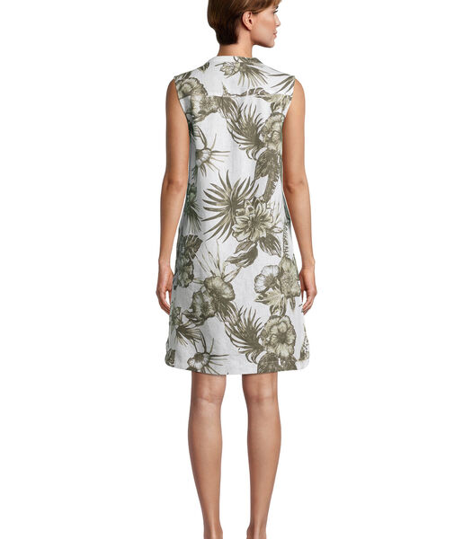 Linnen jurk met opgestikte zakken
