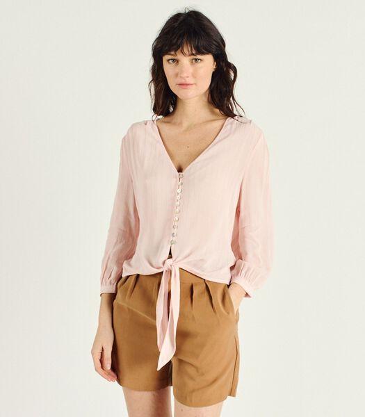 DELIA gestreepte blouse met lange mouwen en V-hals