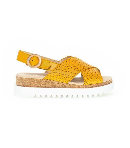 Leren sandalen met sleehak