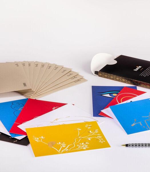 Doos van 10 enkele kaarten Pleins&Déliés, 10 enveloppen