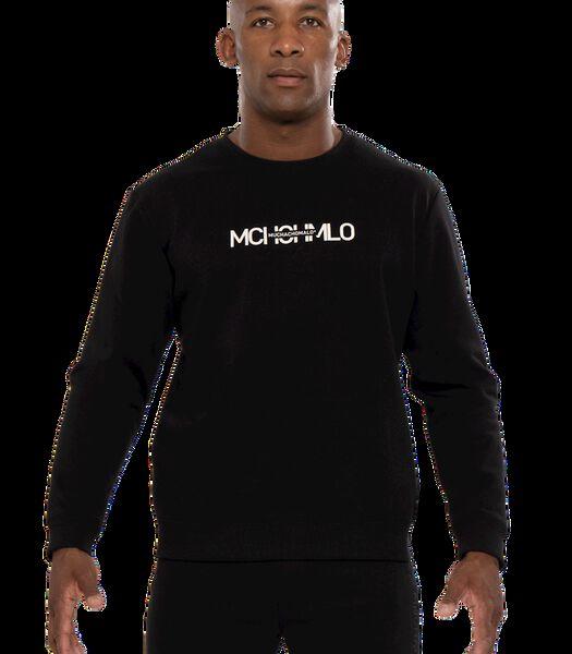 Men round neck sweat black print Black L
