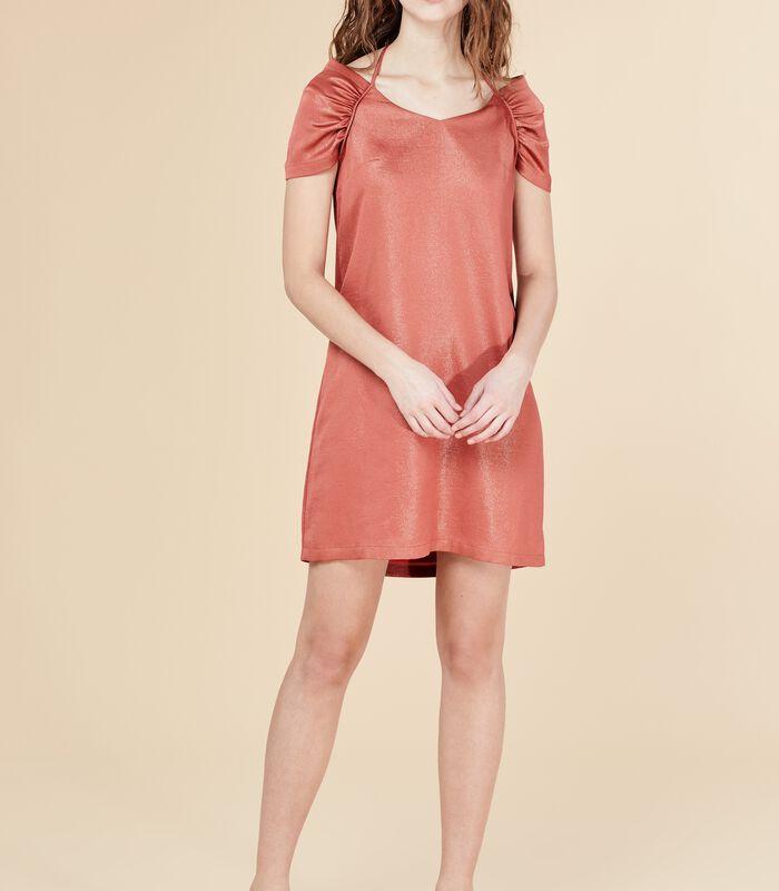 Korte iriserende jurk DEROMY bloedappelsien image number 0