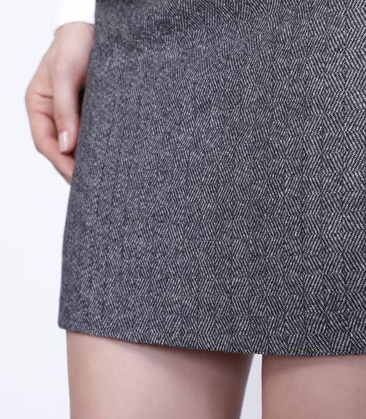 Korte rok van gevlekte wol en bias van leer