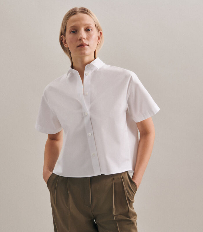 Shirtblouse Uni Korte mouwen Kraag image number 0