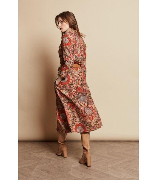 Kleurijke midi jurk met retro dessin