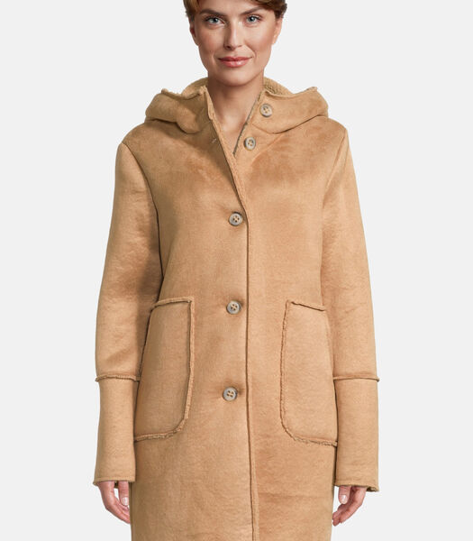 Korte mantel met capuchon