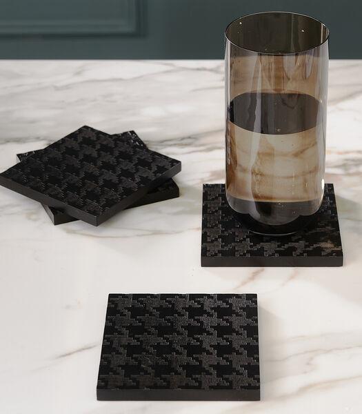 Pied-de-Poule Coasters 4 pieces