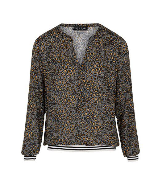 Sportief-chique blouse van dierenhuid TIGER